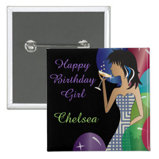 Classy Girl's Party Pinback Button