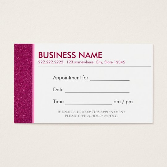 Classy Glitter Pink Appointment Business Cards