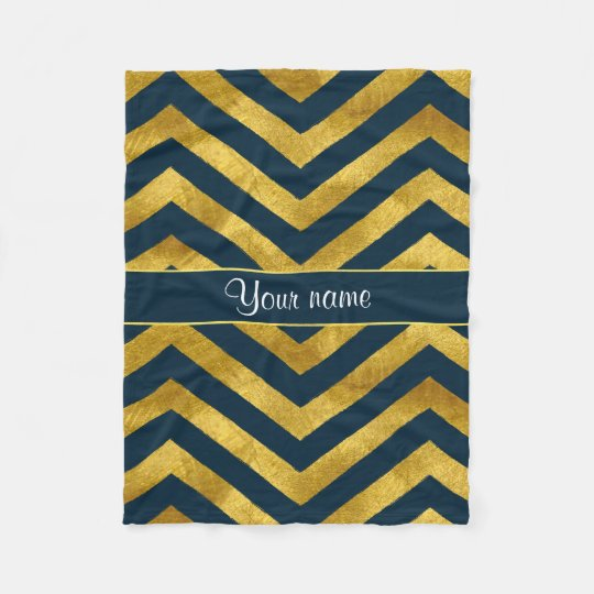 Classy Gold and Navy Blue Chevrons Fleece Blanket