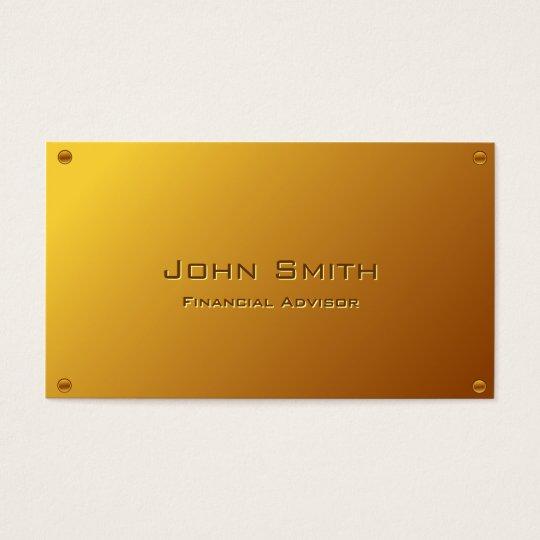 Classy Gold Financial Advisor Business Card