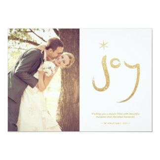 Classy Gold Glitter Brushed Joy Holiday Photo Card 13 Cm X 18 Cm Invitation Card
