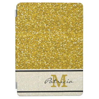 Classy Gold Glitter Monogram iPad Air Cover