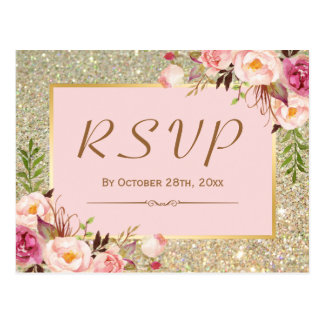 Classy Gold Glitter Pink Floral RSVP Response Postcard