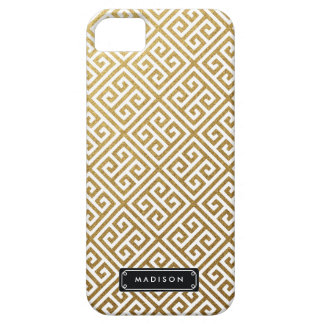Classy Gold Greek Key Personalized Case For The iPhone 5