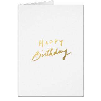 Classy Gold Happy Birthday Note Card
