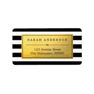 Classy Gold Label and Black White Stripes Address Label