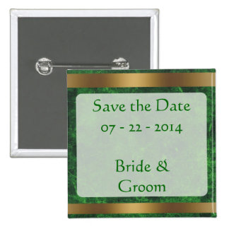 Classy Gold Save the Date Goldgreen1 15 Cm Square Badge