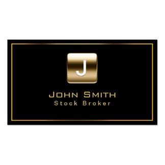 Classy Gold Stamp Stock Broker Dark Business Card