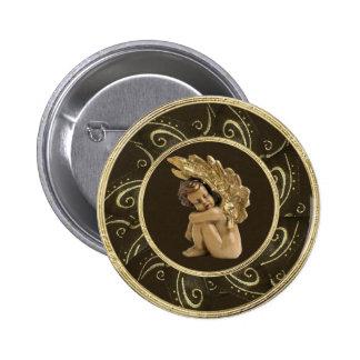 Classy Gold Vintage Angel & Sparkles Button