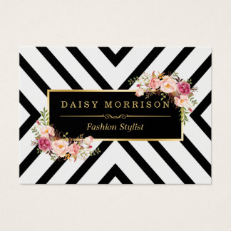 Classy Gold Vintage Floral Black White Stripes Business Card