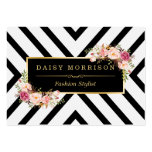 Classy Gold Vintage Floral Black White Stripes Pack Of Chubby Business Cards