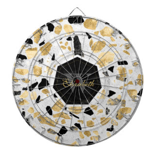 Classy gold vintage marble abstract design dartboard