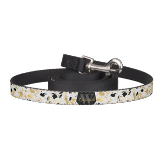 Classy gold vintage marble abstract design pet leash