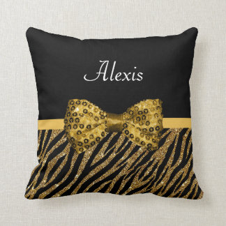 Classy Gold Zebra Print FAUX Glitz Bow With Name Cushion
