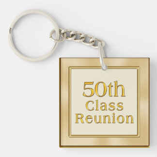 Classy Golden 50th Class Reunion Souvenirs Favors Double-Sided Square Acrylic Key Ring