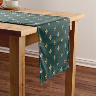 Classy golden like fleur de lis on dark sea green short table runner