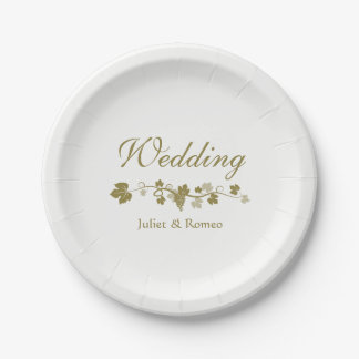 Classy Grape Vines Wedding Paper Plate