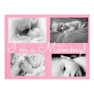 "Classy Gray ""I am a Mommy""  Birth Announcement Postcard"