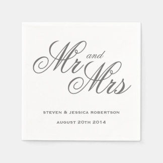 Classy gray Mr and Mrs paper wedding napkins Disposable Serviette