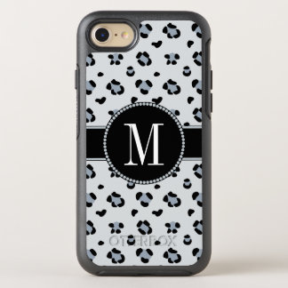 Classy Gray Snow Leopard Cool Silver Monogram OtterBox Symmetry iPhone 8/7 Case