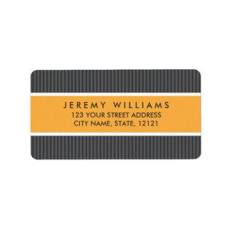 Classy gray stripes orange panel return address address label