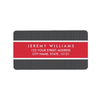 Classy gray stripes red panel return address address label