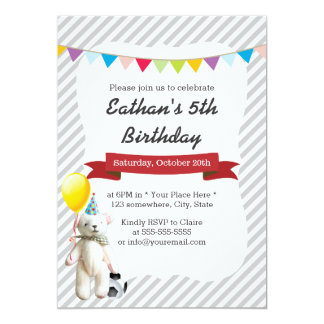 Classy Gray Stripes Soccer Bear Boy Birthday Party 13 Cm X 18 Cm Invitation Card