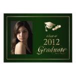 Classy Green and Gold 2012 Graduate Photo Invite 13 Cm X 18 Cm Invitation Card