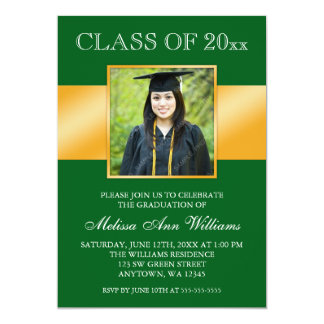 "Classy Green Gold Photo Graduation Announcement 5"" X 7"" Invitation Card"