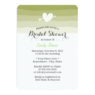 Classy Green Stripes Bridal Shower Invitation