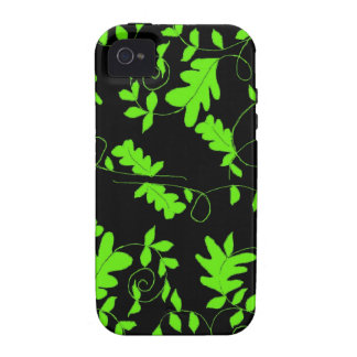 Classy Green Vines and Leaves on Black iPhone 4/4S Cases