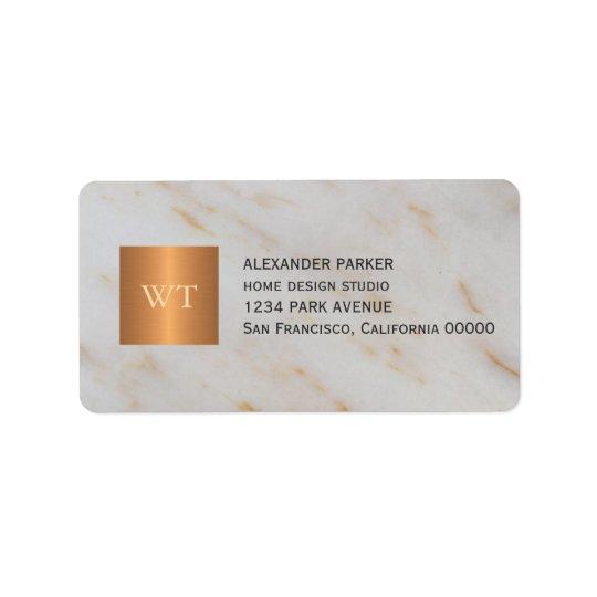 Classy grey marble metallic copper square monogram address label