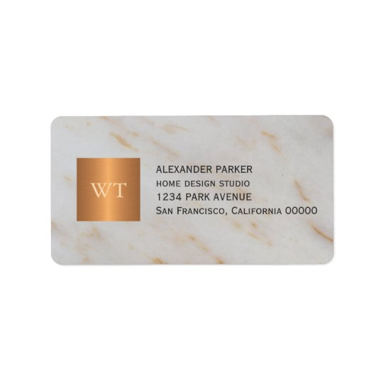 Classy grey marble metallic copper square monogram label