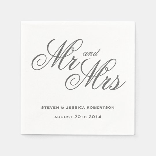 Classy grey Mr and Mrs paper wedding napkins