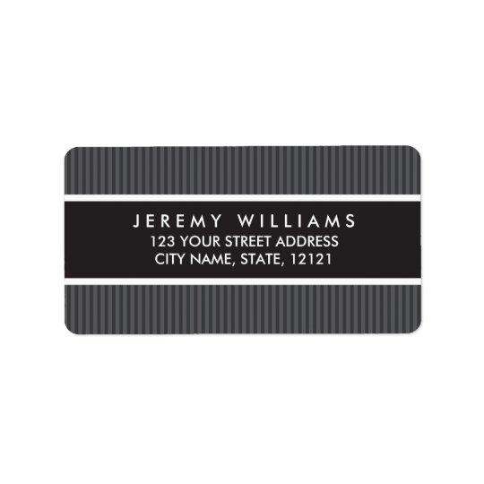 Classy grey stripes return address label