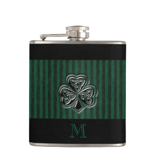 Classy grundge Irish lucky shamrock monogram Hip Flask