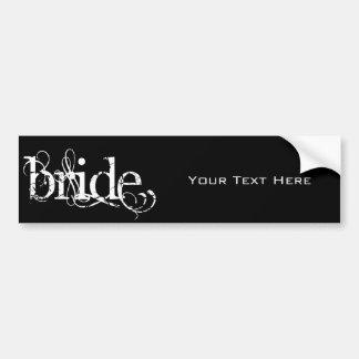 Classy Grunge Wedding - The Bride - B W Bumper Sticker
