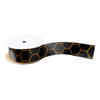 Classy Honey print in black and yellow tons Satin Ribbon