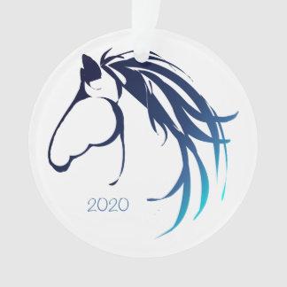 Classy Horse Head Logo Blue Shades for Christmas Ornament