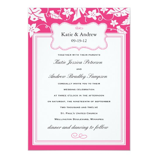 Classy Hot Pink Wedding Invitation Template