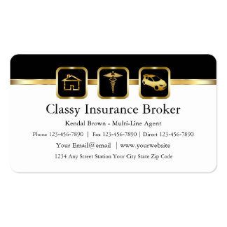 Classy Insurance Broker Business Cards