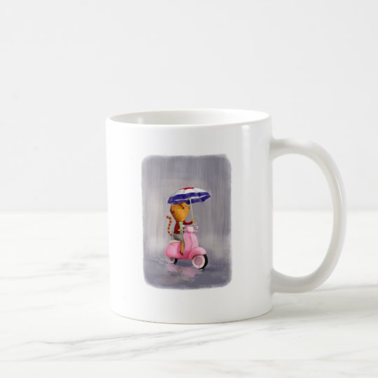 Classy Kitty Cat on pink scooter Coffee Mug