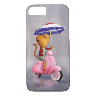 Classy Kitty Cat on pink scooter iPhone 8/7 Case
