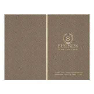 Classy Leather Gold Laurel Monogram Bi-fold 21.5 Cm X 28 Cm Flyer