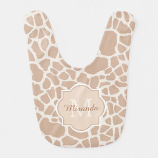 Classy Light Brown Giraffe Print Monogram and Name Bib