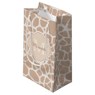 Classy Light Brown Giraffe Print Monogram and Name Small Gift Bag