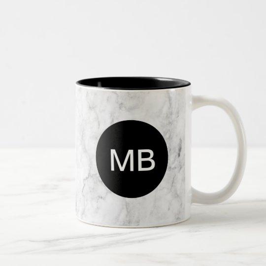 Classy Marble Stone Monogram Look Two-Tone Coffee Mug