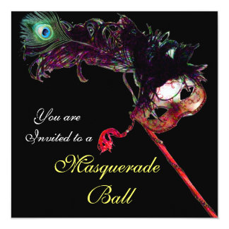 CLASSY MARDI GRAS MASQUERADE BALL MASK ,Black 13 Cm X 13 Cm Square Invitation Card
