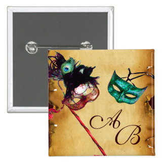 CLASSY MARDI GRAS MASQUERADE PARTY MONOGRAM 15 CM SQUARE BADGE