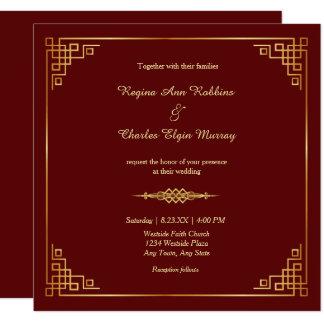 Classy Maroon Red Gold Frame Wedding Invitation